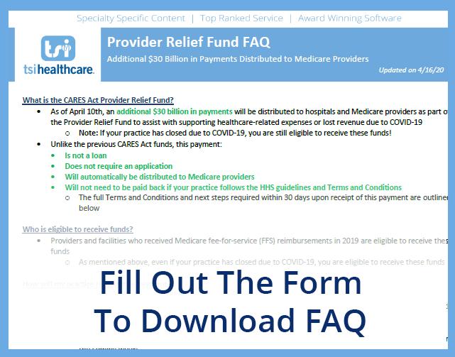 FAQ - Provider Relief Fund